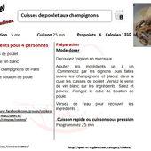 Fiche recette cookeo cuisses de poulet aux champignons  