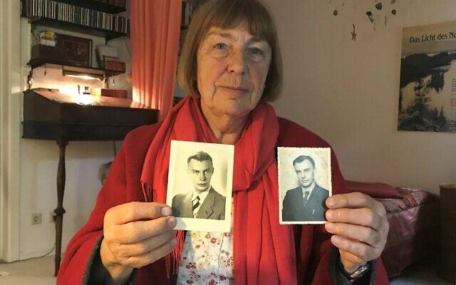 """Reproduction de deux photos datant de 1938 (à gauche) et 1948 montrant Peter Kroeger, qui faisait partie des """"Einsatzgruppen"""", les escadrons de la mort paramilitaires Schutzstaffel (SS) responsables de massacres, et qui était également le père de Barbara Brix, photographiée le 11 juin 2020 chez elle à Hambourg, dans le nord de l'Allemagne. (Crédit : Marion PAYET / AFP)"""