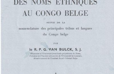 ORTHOGRAPHIE DES NOMS ETHNIQUES AU CONGO BELGE