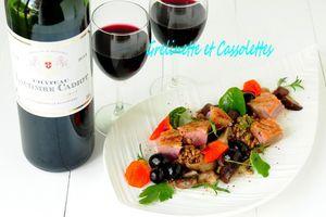 Filet de Canard à la Forestière, Petit Epeautre et Raisins, accord avec le Chateau Lacombe Cadiot 2014