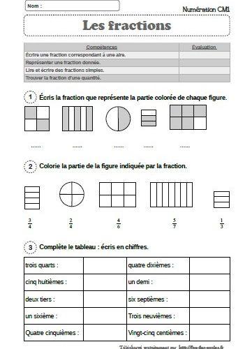 Evaluation Mathematiques Les Fractions Simples Cm1 Cm2 Fee Des Ecoles
