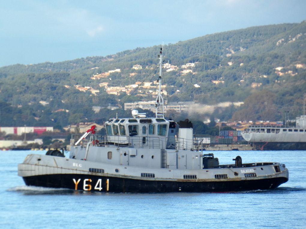 BALAGUIER  Y 641 , Remorqueur cotier (RC)type RPC 12 , en petite rade de Toulon  les 16 nonembre 2018 et 07 decembre 2019