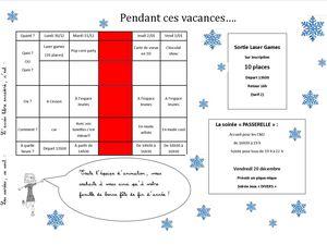 """programme vacances de """"Noël"""" à l'Espace Jeunes"""
