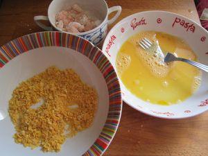 langoustines pannées aux cereales , et sauce soja sucrée coriandre