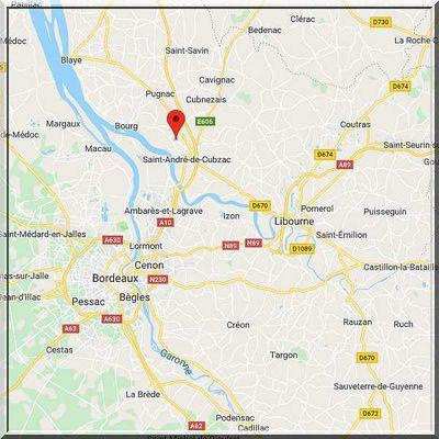 Gironde - Saint Gervais - Position église sur carte