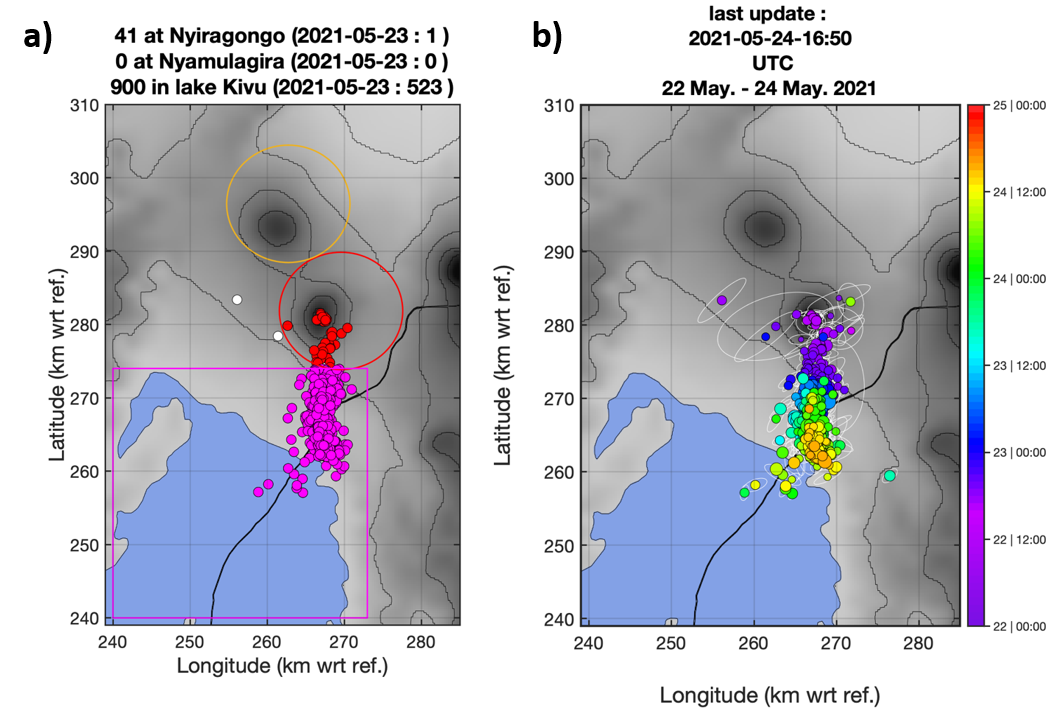 The progression of the seismicity of the first eruptive fissure at the foot of Nyiragongo south of Goma (DRC) / Gisenyi (Rwanda) is clearly visible. - a) Counting zones for seismic and earthquake events located automatically on May 22, 23 and 24, 2021 (last update on May 24 at 4:50 p.m. UTC); b) Another representation of the automatic earthquake location map on May 22, 23 and 24 (last updated May 24 at 4:50 p.m. UTC) where the color scale corresponds to the time of origin of each event. - Doc. https://georiska.africamuseum.be/