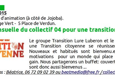 Réunion mensuelle du collectif 04 pour une transition citoyenne.