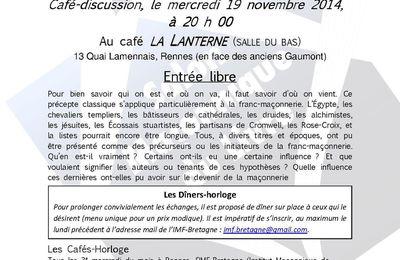 Café-horloge du 19 novembre 2014 : Les mythes fondateurs de la franc-maçonnerie