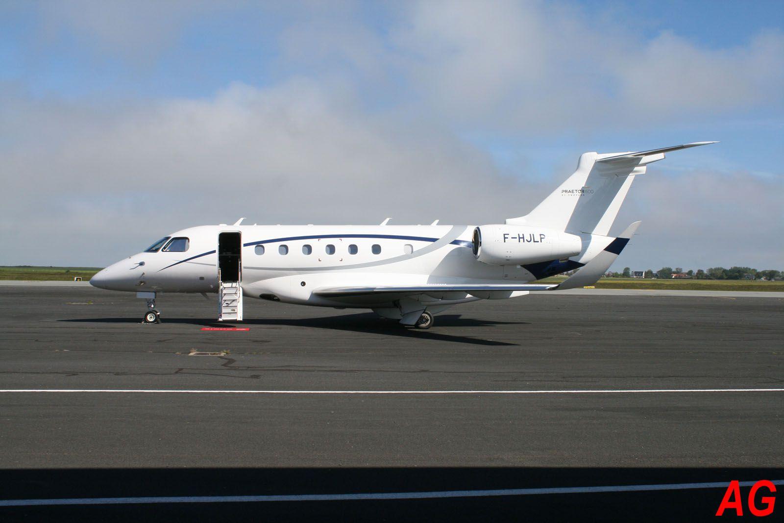 L'Embraer EMB-550 Praetor 600 F-HJLP de la compagnie Luxwing. A priori premier de ce type au Havre.
