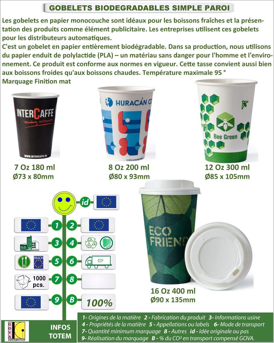 Gobelets biodégradables simple paroi pour distributeurs et fontaines fabrication européenne - GO118-21GOBIO