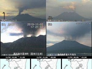 Sakurajima - eruptive episodes of November 2, respectively at 13:51, 17:21 and 20:45 - JMA webcam images - one click to enlarge