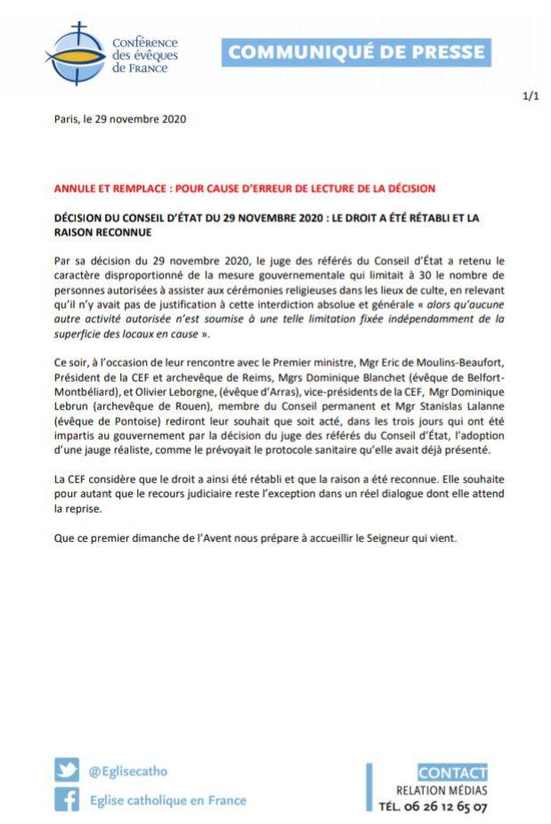 Communiqué de presse - CEF - dimanche 29 novembre