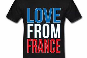 T shirt bleu blanc rouge Love from France HNR