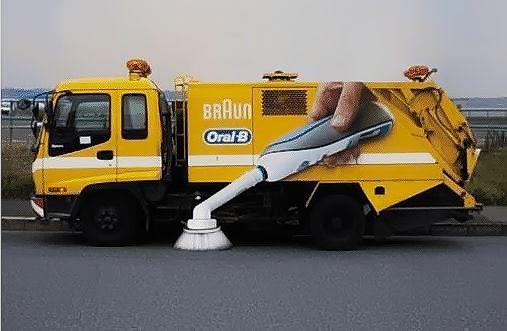 publicité Oral B sur camion