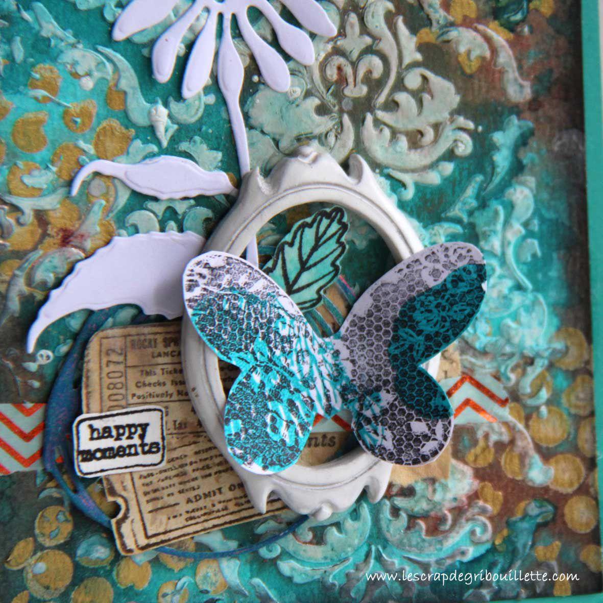 #pochoir#modeling paste#encres en spray#peintures acryliques#fleur#cadre#papillon