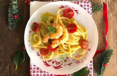 Spaghetti alla Chitarra con Gamberi glassati all'Arancia Crema di Patate al Finocchietto e Pomodorini Confit