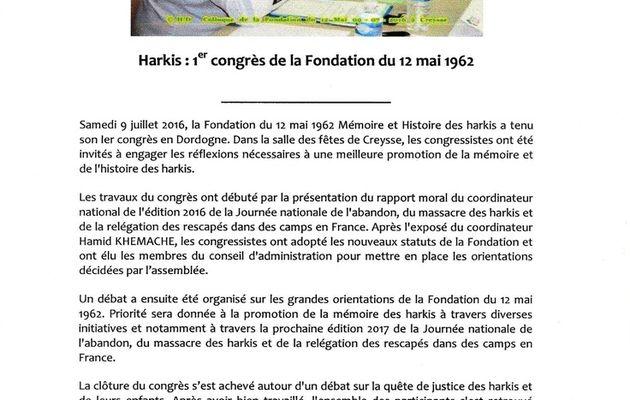 Harkis : 1er congrès de la Fondation du 12 mai 1962 à Creysse (24)