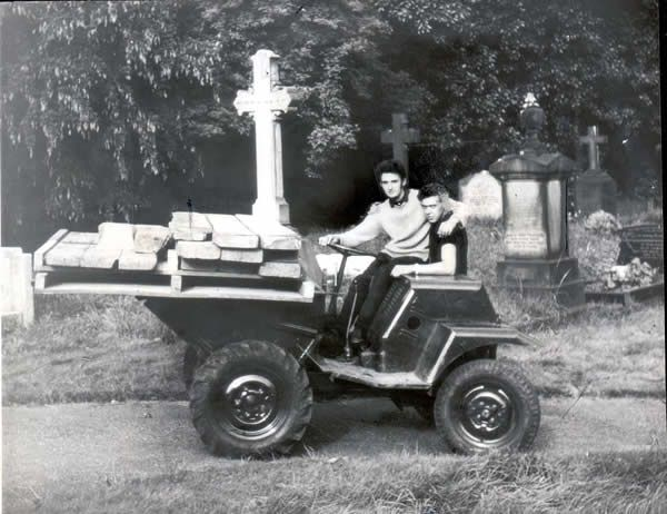 Peter Sutcliffe aged 18 is pictured wearing a light sweaterafter starting work at Bingley cemetery in 1965