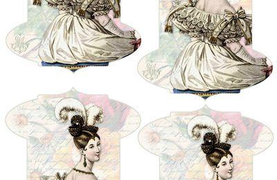 Cartonnette pour fil : femme de 1830