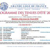 Tenue d'été 2016. Le programme définitif (et modifié). - Bloc notes de Jean-Laurent, sur la Franc-Maçonnerie et les Spiritualités.