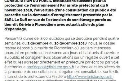 Extension de porcherie à Plomodiern : lettre au préfet