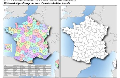 Carte muette des départements de France