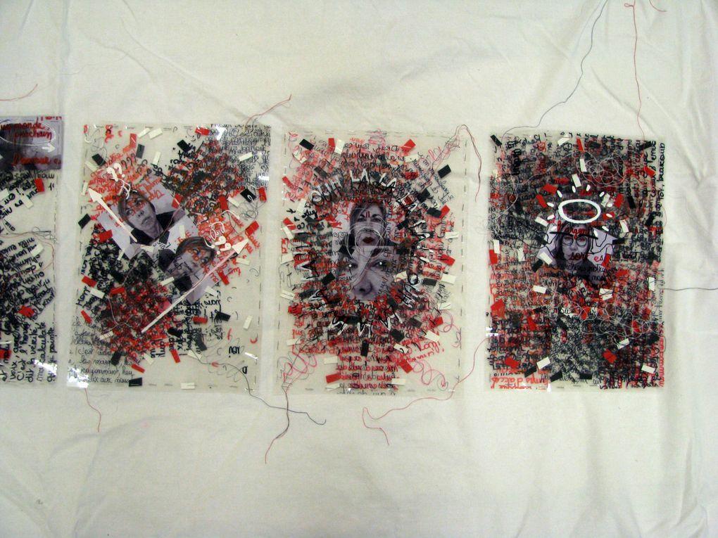 Techniques graphiques mixtes sur feuilles de celluloïd superposées + photographies numériques.(147/30 CM) (autoportrait) :-)