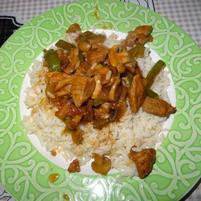 Wok de porc champignons et poivron