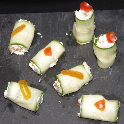 Maki de concombre à la mascarpone et abricot sec