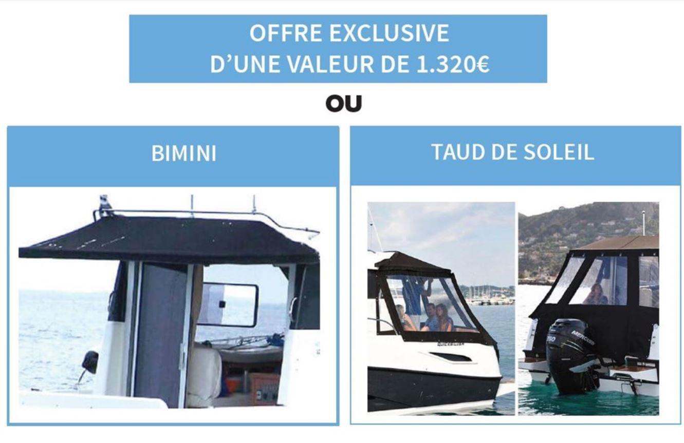 Quicksilver 675 - bimini ou taud offert, pour l'achat de son bateau hors-bord