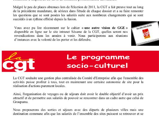 Elections à Groupama Grand Est - Propositions de la CGT sur le CE, la DP et le quotient familial (4 pages, 2 tracts))