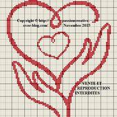 Grille gratuite point de croix : Coeurs et mains rouges - Passion creative