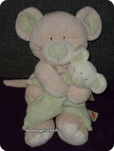 doudou souris nicotoy the baby collection vert blanc beige