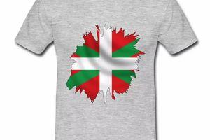 T shirt Pays Basque gris homme Drapeau Basque 64