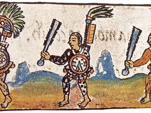 To the left, Aztec warriors with their Macuahuitl : sword - club for rituals fightings , equipped with obsidian blades - doc . Florentine Codex IX - to the right, Spear points obsidian found in an offering of the Mayan city of Palenque ( Museum of America , Madrid). - Click on the photos to enlarge.