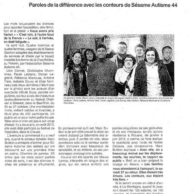 article ouest france 30 nov 2011 sur paroles de la différence