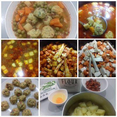 Soupe de légumes et boulette de pomme de terre