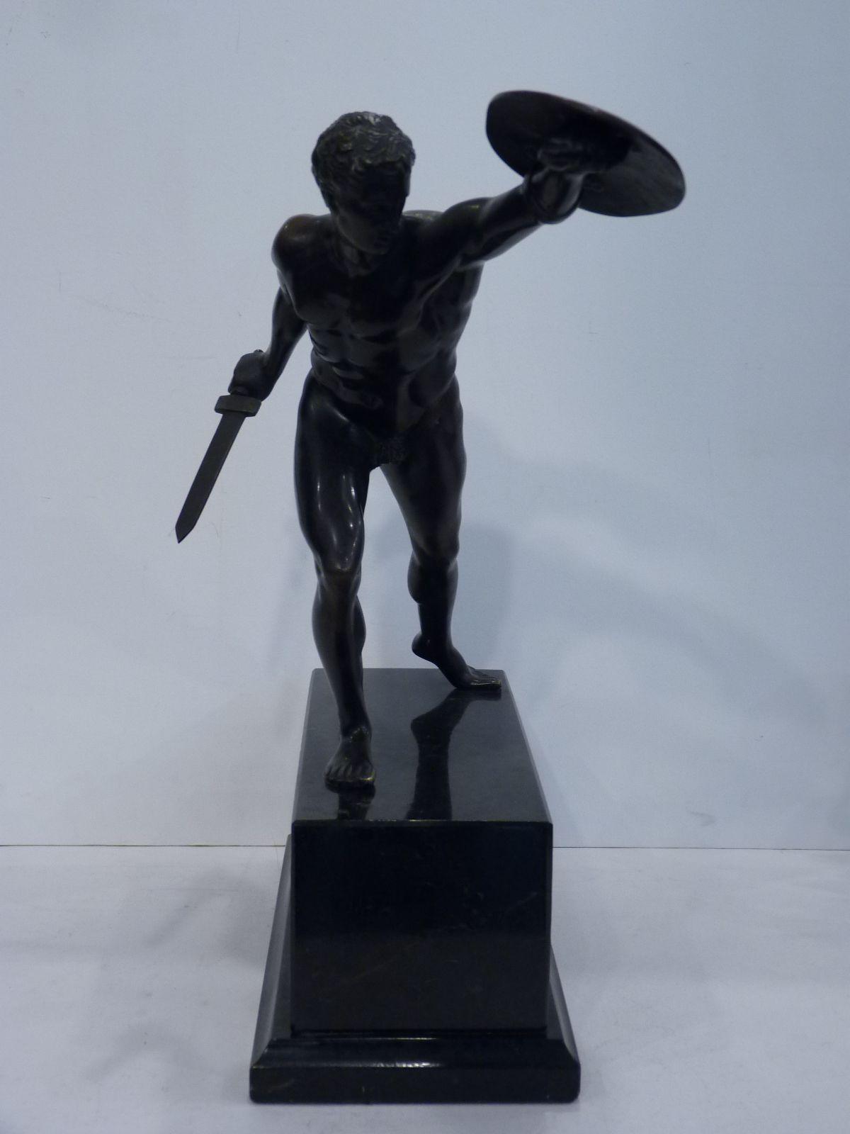 Gladiateur Borghèse, Sculpture en Bronze d'après l'Antique, XIXème Siècle