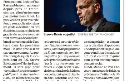 """""""Priorité nationale"""": Steeve Briois renvoyé en correctionnelle"""