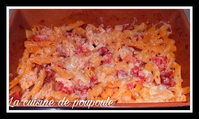Gratin de pâte, tomate, chorizo, poulet et comté au thermomix ou sans