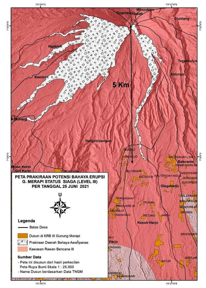 Merapi - carte des zones à risques d'avalanches et de coulées pyroclastiques - Doc. BPPTKG - Taches orange : hameaux - grisé : zones de possibles coulées pyroclastiques.