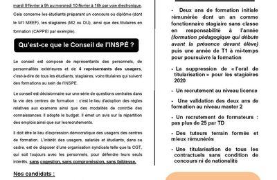 Élection des représentants des usagers au Conseil d'Institut de l'INSPE : votez pour la liste CGT Educ'action !