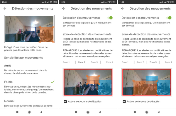 Captures d'écran application de la caméra de surveillance Full HD - Honeywell Lyric C2 @ Tests et Bons Plans