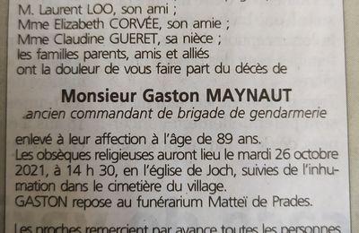 Gaston Maynaut nous a quittés