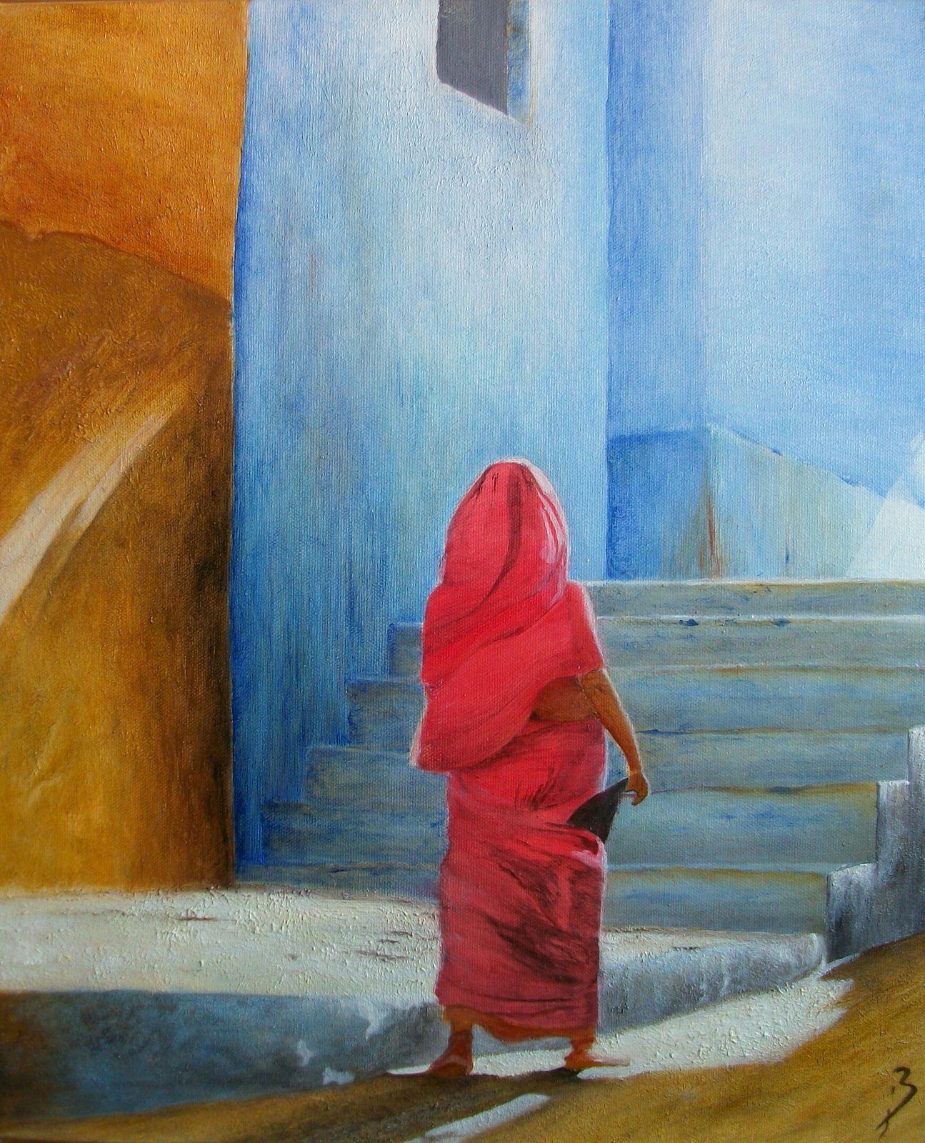 La Dame en rouge - Djerba - taille : 38x46 cm - Disponible