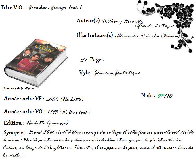 Les aventures de David Eliot, tome 1 : L'île du crâne  de Anthony Horowitz