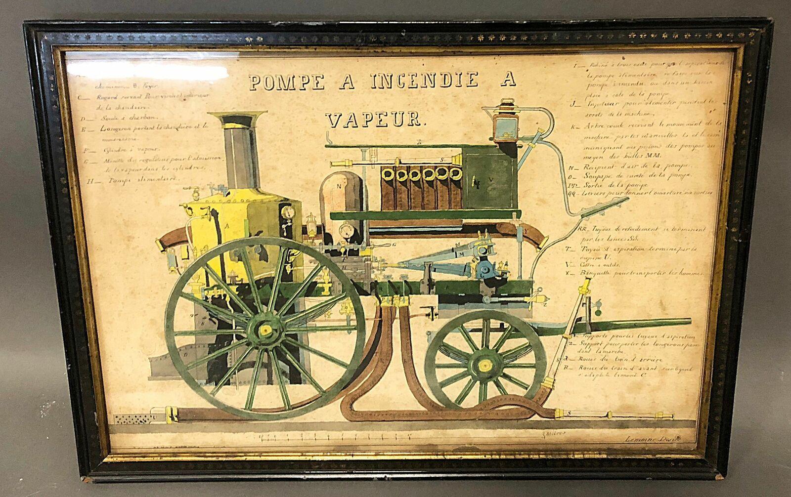 Rare plan chiffré de pompe à incendie à vapeur, signé Désiré LEMOINE, aquarelle , plan manifestement du fabricant, 30X44