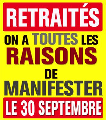Retraités, montrez-vous ! Tous dans les rassemblements du 30 septembre !