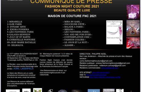 FNC PARIS 2021 : COMMUNIQUÉ DE PRESSE DU 17 Septembre