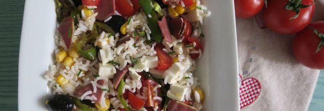 Salade de riz au magret de canard et poivron grillé